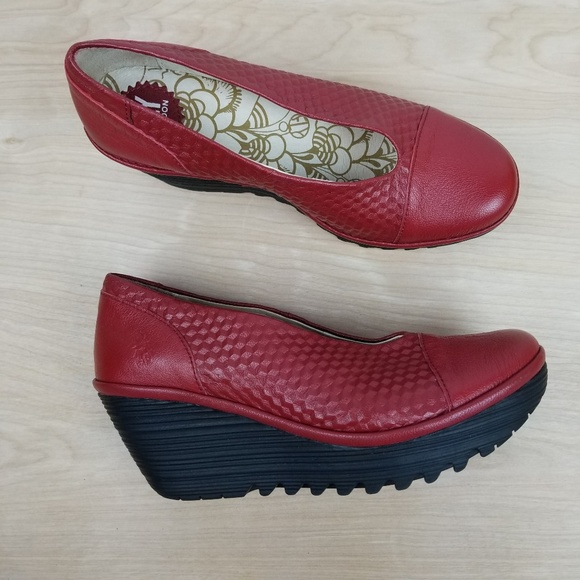 f598d70a0d17 Fly London Shoes - Fly London Yaz Red Slip On Wedge Heel Euro 40